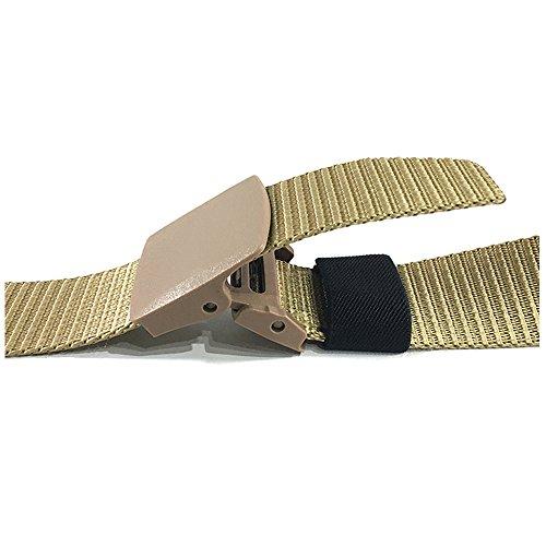Herren Gürtel Nylon Outdoor Sportarten Guertel 3.8CM Breite mit Automatische Kunststoff Schnalle Khaki