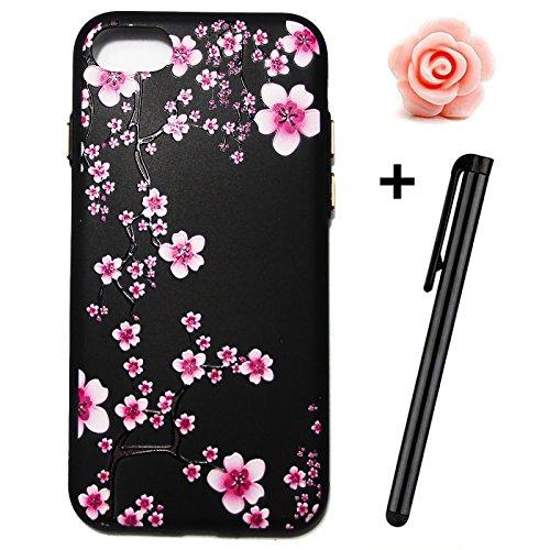 iPhone 7Fall, iPhone 7, 3D Bling Glitzer Soft Case für iPhone 711,9cm, toyym Ultra Slim Transparent Kristall Schöne Muster Schutzhülle Bumper TPU Silikon Back Schutzhülle für Iphone 7 Blume#12