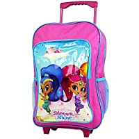 Shimmer & Shine 1019HV-7427 Nickelodeon Deluxe Trolley Backpack Cabin Childrens Pink Suitcase