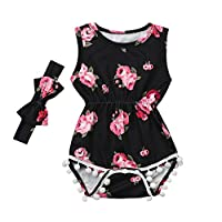 LANSKIRT-Baby Girls Jumpsuit for 6-24 Months Old, ✿Newborn Baby Floral Tassel Romper+Headband Set Print Bowtie Sleeveless Baby Outfit Summer Christening Lovely One Pieces Bodysuit Black