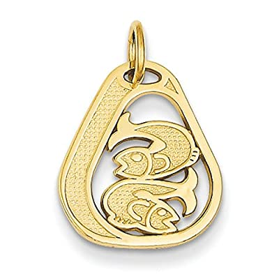 14ct Gold Pisces Charm - Measures 16x14mm