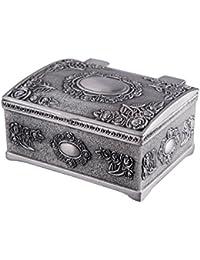 Feyarl Vintage Caja de tamaño pequeño, Mini Cofre del Tesoro joyería Caja ...