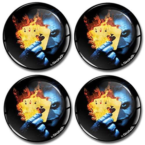 4 x 70mm 3D Adesivi in Silicone per Coprimozzo Cerchione Copricerchi Tappi Ruote Auto Tuning Joker Carte Poker A 2870