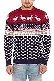 NOROZE Hommes Femmes Unisexe Nouveauté tricotée Noël Pull Pull-Over,Rouge,XL