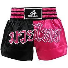 adidas Muay Thai pantalones cortos de boxeo Satine, Negro/Rosado