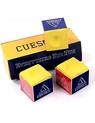 CUESOUL 3 Piezas por caja de Billar Chalk Snooker Cue Chalk (Amarillo)