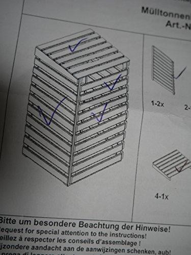 Mülltonnenbox schwarz f. 1 Tonne 120L FSC Holz Verkleidung Mülltonnenverkleidung - 2