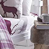 Catherine Lansfield Grampian Stag Double Fitted Sheet - Mulberry