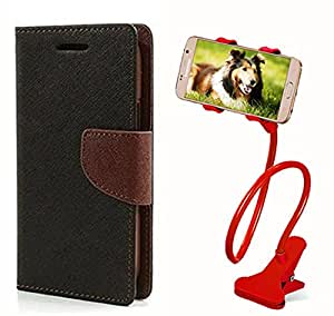 Aart Fancy Diary Card Wallet Flip Case Back Cover For Nokia 535 - (Blackbrown) + 360 Rotating Bed Tablet Moblie Phone Holder Universal Car Holder Stand Lazy Bed Desktop for by Aart store.