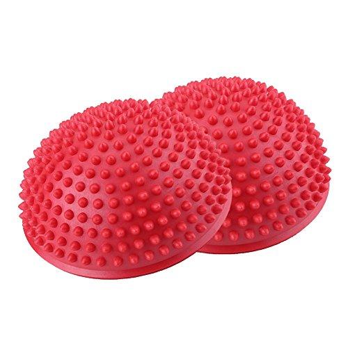 Massageball fußmassage Bälle Spiky Massage Balls,1pcs Fitness Massagebäll tiefe Gewebe Trigger Point Roller PVC aufblasbare halbe Yoga Balls Massage Point Übungen Trainer Fitness Balance Ball(rot)