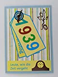 Kartenkunst 5x Fröhliche Einladungskarten zum 80. Geburtstag *1939*Handmade*