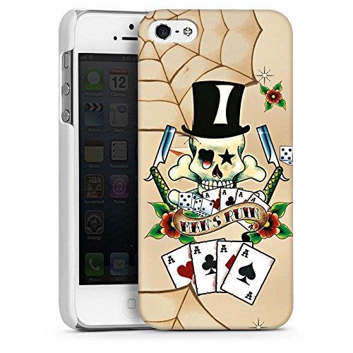 Apple iPhone 5 Housse étui coque protection Tête de mort Cartes Fleurs CasDur blanc
