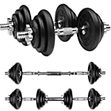 Gallant 20kg Cast Iron Adjustable Dumbells Set - Hand Weights with Solid Dumbbells Handles Bar and Joiner Changes into Barbell Bar For Men, Weight Lifting Home Gym Equipment Free Training - Next Day