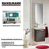 Fackelmann Badmöbel Set Como Gäste WC 3-tlg. 45 cm Anthrazit mit Waschbecken Unterschrank & Waschbecken & Spiegelelement