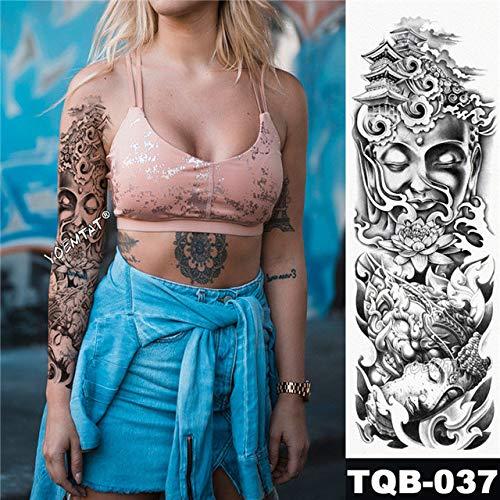 Modeganqing 3 grandi maniche tatuaggio braccio maori totem impermeabile adesivi tatuaggio guerriero samurai angelo uomo tatuaggio nero 08 48x17cm