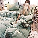 Huichao Baumwoll-Quilt Decken Vier Sätze von Herbst-und Winterwarm Kristall Samt Betten einfache solide Farbkontrastfarbe Mosaik nordischen Stil,Green
