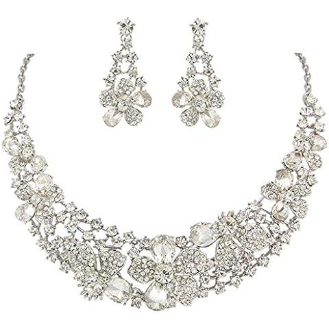 Ever Faith Cristallo nuziale austriaca Fiore collana orecchini set silver-tone trasparente N05206-6