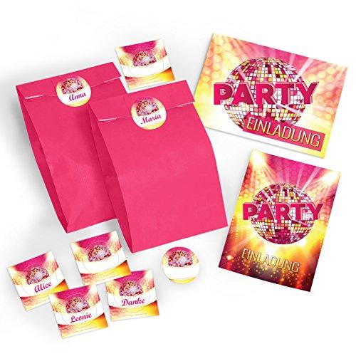 12-er Set Einladungskarten, Umschläge, Tüten, Aufkleber zum Geburtstag oder Party / Einladungen / Kindergeburtstag / Erwachsene / Disco (12 Karten + 12 Umschläge + 12 Party-Tüten + 12 Aufkleber) (80. Geburtstag Einladungen Erwachsene)
