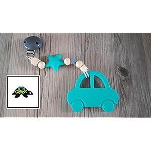 Beißkette Auto- Holz/türkis/grau