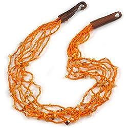 Avalaya - Collar étnico de Cuentas de Cristal Naranja multihebra, Piedra semipreciosa con Cierre de Gancho de Madera, 60 cm de Largo