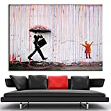 HY & GG Wall Art Bright Color Modern Oil Painting No Frames Banksy Colorful Art Wall Rain Canvas Abstract Paintings Home Decoration, 40Cmx60Cm
