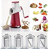 Famous Rotary Grater Slicer For All Vegetables, Dry Fruits And Chips With 4 Stainless Steel Rotary Blades, (COLOUR MAY VARY).