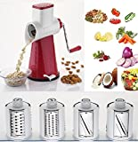 #10: Multi-Functional 4 in 1 ROTARY DRUM Vegetable Fruit Cutter Slicer Cheese Shredder, Speedy Rotary 1 Drum Grater Slicer with 4 Stainless Steel Blade (COLOUR MAY VARY).