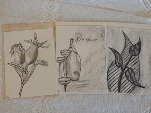 3 Bleistift, Kohle Grußkarten mit Umschlag