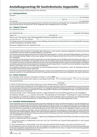 RNK 501/10 Anstellungsvertrag für Kaufmännische Angestellte A4, 10er Packung