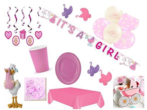 Partydekoset Babyparty Baby Shower Mädchen rosa für 12 Personen 69teilig Pullerparty Baby Geburt Babyparty Komplettset Tischdeko Party Geschirr