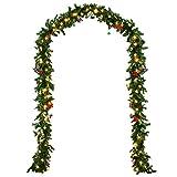 Deuba® Weihnachtsgirlande Tannengirlande Tannenzweiggirlande Weihnachtsdeko Weihnachts Girlande I 5 m I 80 LED's I mit Deko Glöckchen, Sterne und Schleifen I In- & Outdoor
