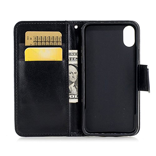 Cover iphone x, Alfort 2 in 1 Custodia Alta qualità Cuoio Flip Stand Case per la Custodia iphone x Ci sono Funzioni di Supporto e Portafoglio ( Blu ) 5,8 pollici Nero
