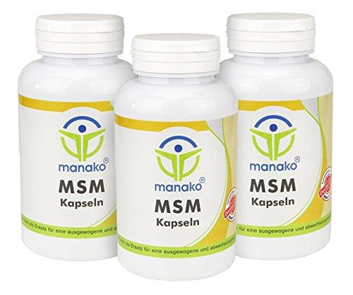 manako MSM (Methylsulfonylmethan) Kapseln human, 3 x 120 Stück, Dose a 84 g, (3 x 120 Kapseln)