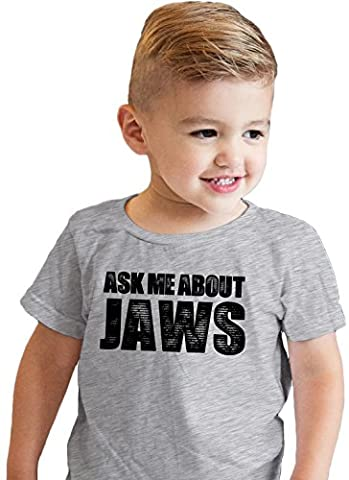 Crazy Dog TShirts - Toddler Ask Me About Jaws Tshirt Funny Shark Movie Flip Up Tee For Kids (grey) 2T -