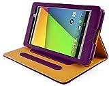 Neu InventCase® VIOLETT (PURPLE) mit TAN PRÄMIE / PREMIUM Leder Schutz Folio Tasche Hülle Case für das neue Google Nexus 7 FHD 2013 (7-Zoll) 2. Generation Tablet Jelly Bean Android 4.3 KitKat 4.4 (16GB / 32GB WiFi / 4G LTE) mit Auto Schlaf / Wach Magnet Funktion / Multi-View-Ständer und Display-Schutzfolie & Stylus Pen (Kompatibel mit Nexus 7 FHD 2 2.0 II Tablet)