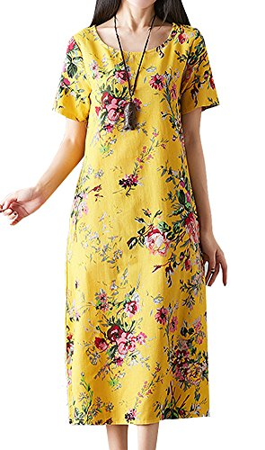 P Ammy Fashion Women's Oversized Retro Floral Cotton & Linen Long Tunics Dress