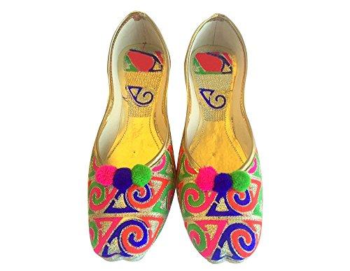 Étape N Style traditionnel fait à la main en cuir flip flops femmes Chaussures mojari Plat Khussa Multicoloured