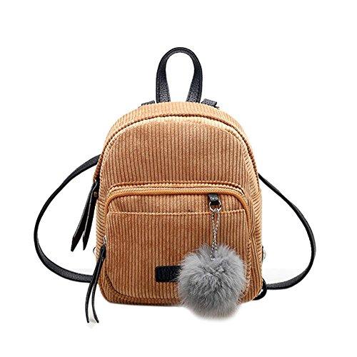Unterbrechen Mädchen Mini Rucksack klein Frauen Fell Ball Winter Samt Schule Schultertasche, khaki, 230.00*210.00*90.00mm (Mädchen Fell)