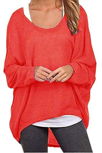 Meyison Damen Lose Asymmetrisch Sweatshirt Pullover Bluse Oberteile Oversized Tops T-shirt Rot-L (Pullover Damen Tunika)
