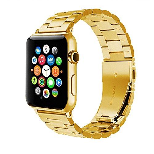 MMOBIEL Uhrenarmband (42 mm) Super Slim Gliederarmband aus rostfreiem Edelstahl mit Schmetterlings-Verschluss Ersatz für Alle Apple Watch Serien (Gold)