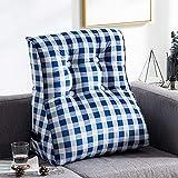 LXZ#Homegift Rückenlehne Nordic Bedside Sofa Kissen Stilvolle Plaid Kissen Abnehmbare Und Waschbare Taille Kissen Keilkissen (Farbe : Blau, Größe : 55cm*60cm)