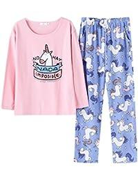 AOWEI EC Mujer 2 Piezas Pijama Algodon de Verano Corto Lencero Unicornio Impreso Lindo Ropa Hogar