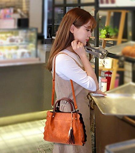 Baymate Moda Borsa A Tracolla Donna Shoulder Bag PU Pelle Borse a Mano 2 Pezzi Set Giallo
