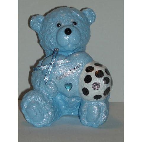 Grandson-Pallone da calcio per bambini, motivo: orsetto Teddy, colore: blu a forma di cuore, decorazione commemorativa da Ziggy Crafts