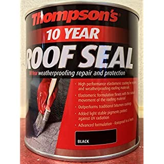 Roof Seal Thompsons 10 Year Weather Proof Rainproof Weatherproof Special Roof Repair Sealing Rubber Paint 2.5L Black