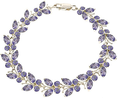 QP joailliers massif Tanzanite naturelle Bracelet en or blanc 9 carats 7,80 CT, Coupe Marquise - 2633 W