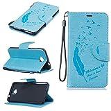 Nancen Microsoft Lumia 650 Ledertasche Flip Case/Handyhülle, Federn und Vögel Muster Bookstyle Design Cover/Etui/Handy Zubehör Schutzhülle mit Standfunktion