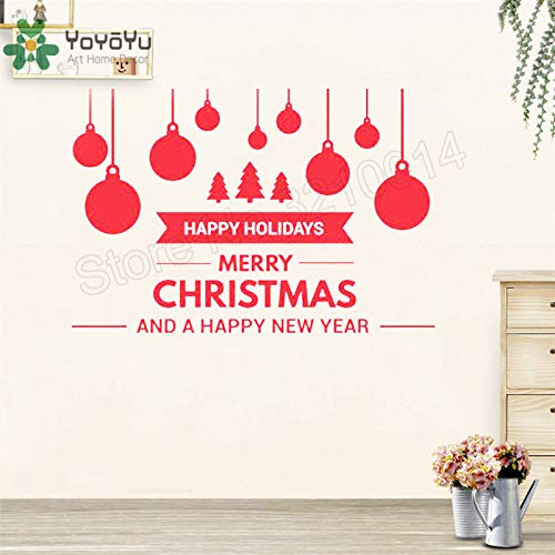 Frohes Neues Jahr Weihnachten Ornamente Aufkleber Wandaufkleber Vinyl Kunst Abnehmbare Poster Schönheit Dekoration 57X84 CM