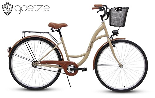 Polbaby Goetze Eco Cappucino 28 Zoll Fahrrad Citybike Stadtrad Retro Schwarz- Metallkorb