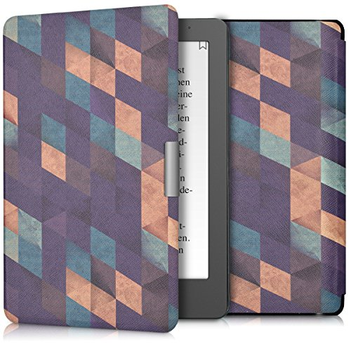 kwmobile Elegant synthetic leather case for the Kobo Aura Edition 2 Design mosaic in dark blue petrol beige